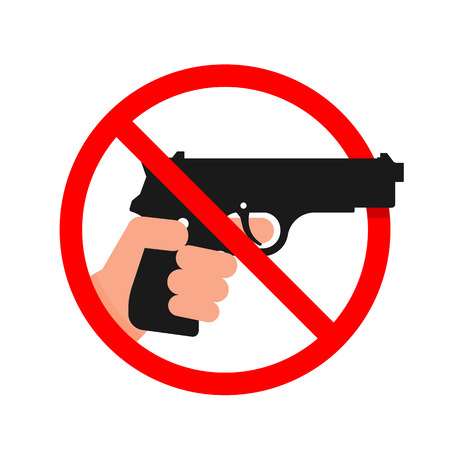 Do not use Guns or Weapons Sign. Illustration