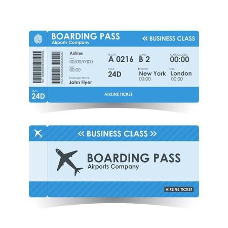 搭乗券チケット ブルーのデザイン。イラスト。