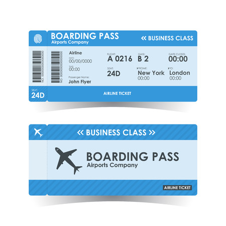 Boarding pass tickets blue design. illustration.