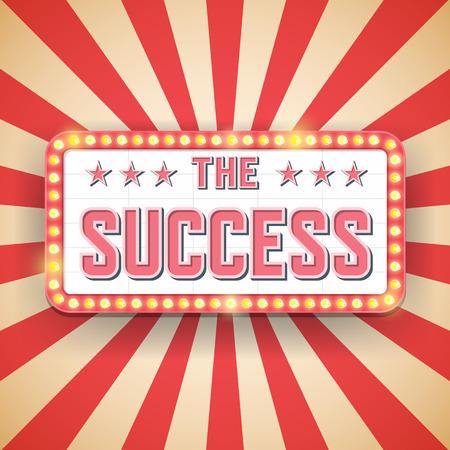 prestigious: Success billboard. Retro light frames. success label.