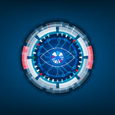 Iris scan technology, Retina Eye, Digital background, illustration