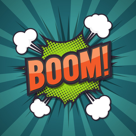 Boom, comic speech bubble, illustration. Illustration