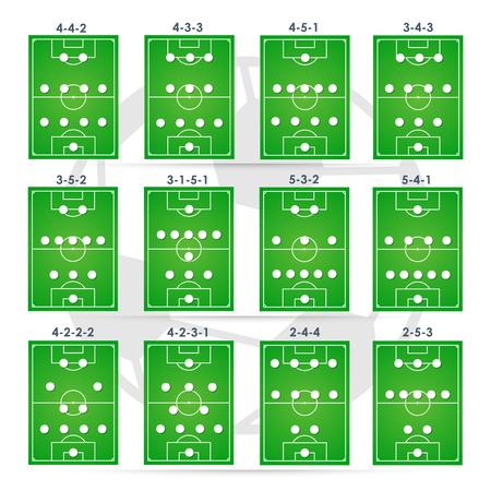 Fußball Formationen Taktik, Planung Position, Illustration.