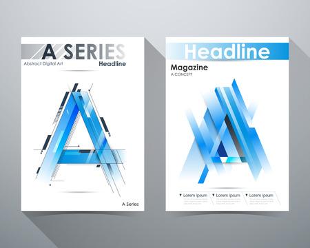 tilt: A Series, Abstract Digital Art Design, Blue tone, A-shape and lines tilt, Online Magazine, Poster Brochure layout illustration template A4 size. Illustration