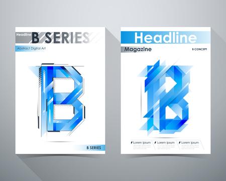 tilt: B Series, Abstract Digital Art Design, Blue tone, B-shape and lines tilt, Online Magazine, Poster Brochure layout illustration template A4 size. Illustration