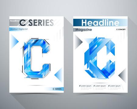 tilt: C Series, Abstract Digital Art Design, Blue tone, C-shape and lines tilt, Online Magazine, Poster Brochure layout illustration template A4 size. Illustration