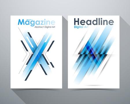tilt: Abstract Digital Art Design, Blue tone, X-shape and lines tilt, Online Design Magazine, Poster Brochure layout illustration template A4 size Illustration