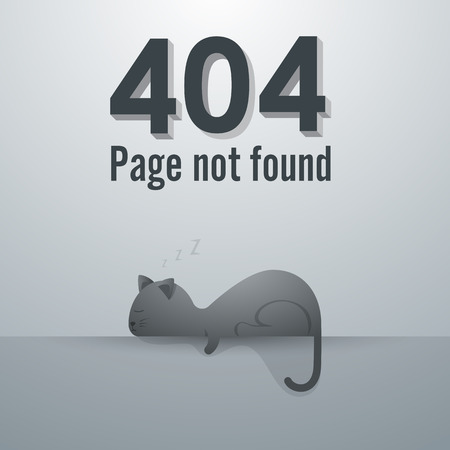 outage: 404 Page not found. concept of cat sleeping poses, illustration Illustration