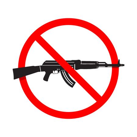 gun control: No Guns or Weapons Sign. AK47 rifle