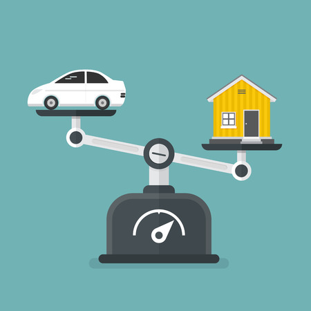 Value of Real Estate. Concept of compare of car and home. vector illustration