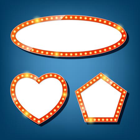 pentagon: Electric bulbs billboard. oval, heart, pentagon retro light frames. vector illustration Illustration