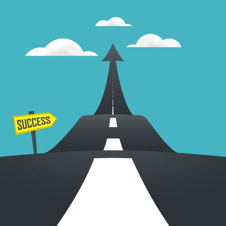 Concept of the road to success. Vector illustrator