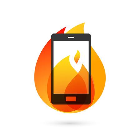 スマート フォンは燃え盛る火の爆発