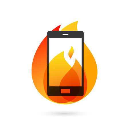 Smartphone explosion with burning fire