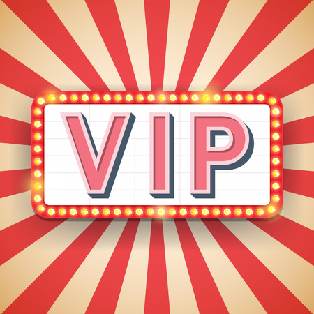 premium member: Vip billboard. Electric bulbs. Retro light frames. Vector illustration Illustration
