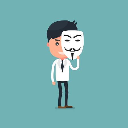 Businessman with mask. flat cartoon. Vector illustration Illustration