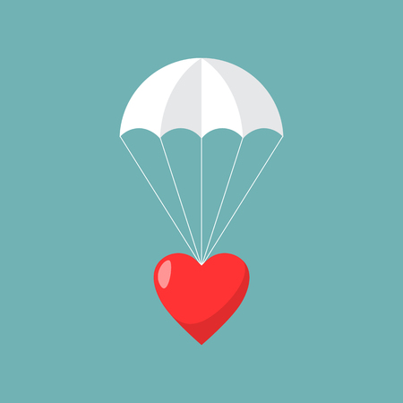 Parachute with heart, Concept of sending love. Vector illustration. Illustration