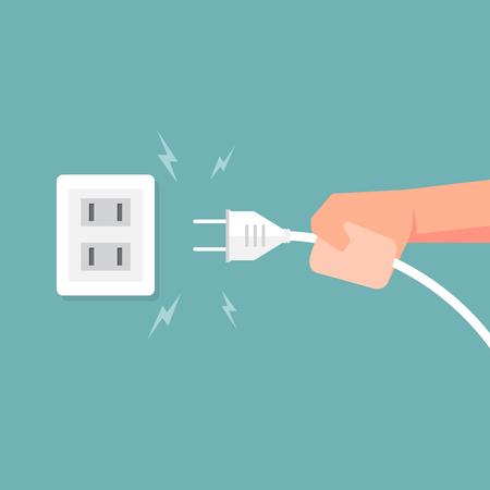 Het aansluiten van elektrische stekker met elektriciteit vonk. Vector illustratie.