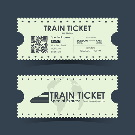Train ticket vintage concept design. Vector illustration.