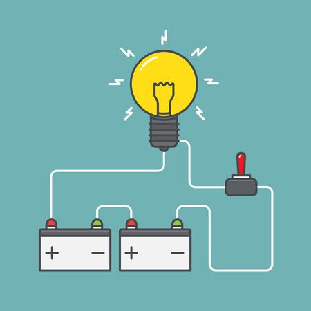 回路。電源スイッチと電池の概念。フラットなデザイン。ベクトルの図。