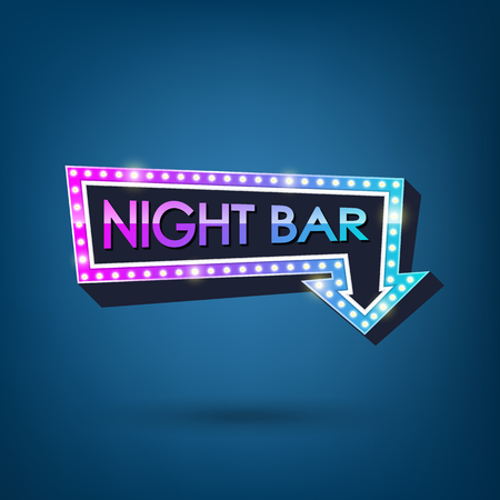 Electric bulbs retro billboard with light text of Night bar. Vector illustration.