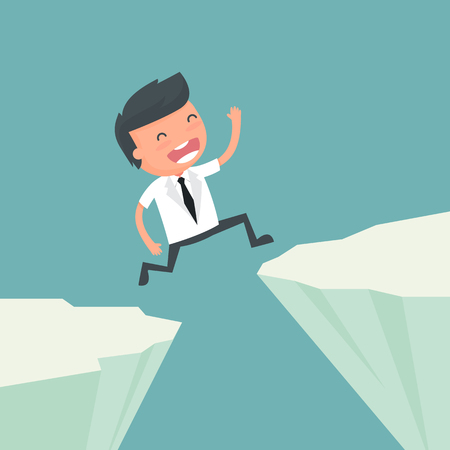 Businessman jump up the rocks. Concept of business risk to success. Vector illustration.