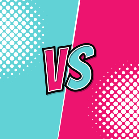 VS, Versus retro vintage desing with halftone. Vector illustration.