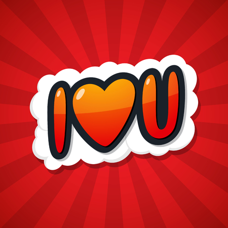 I love you. Message Poster Comic Speech Bubble. Vector illustration.