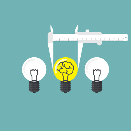 Measure of idea. Business concept of good selection. Vector illustration.