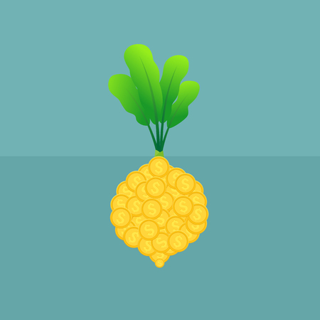 Business growing money. Concept of cropping. Vector illustration. Illustration