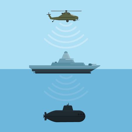 Military weapon detection technology with ship submarine and helicopter. Vector illustration.