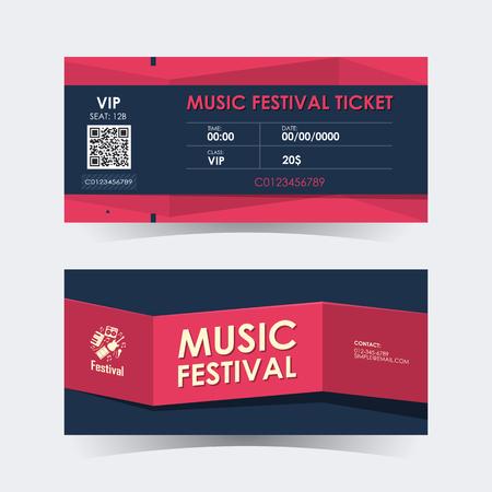 Music festival ticket Card. Element template for design. Vector illustration.