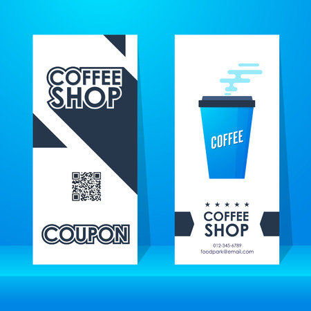 Coffee shop ticket. Element template modern vertical for graphics design. Vector illustration. Illusztráció