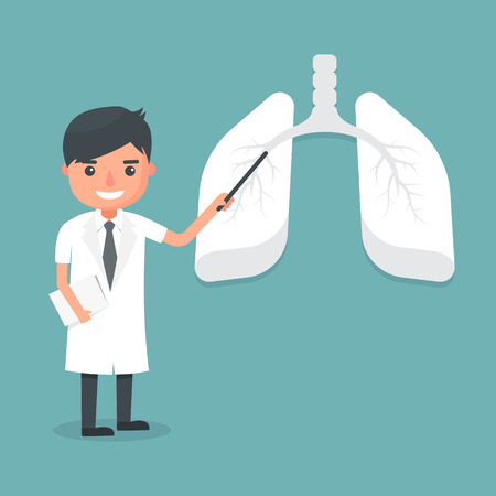Doctor show lung system. Vector illustration. Vectores