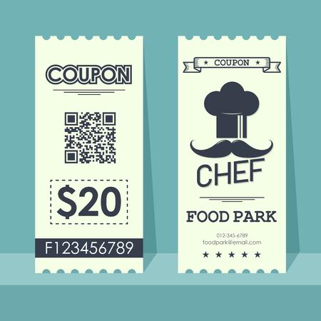 Food park coupon ticket. Element template vertical vintage design for graphics. Vector illustration.