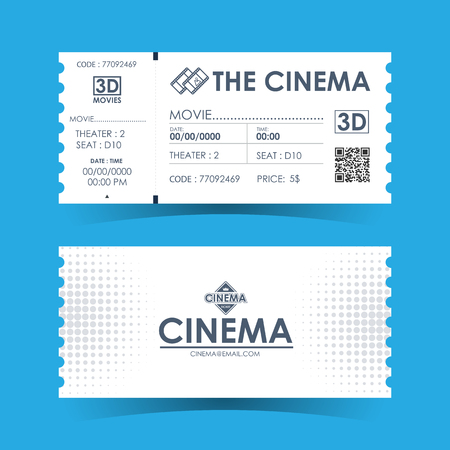 Cinema Ticket Card. Element template for design. Vector illustration. Ilustrace