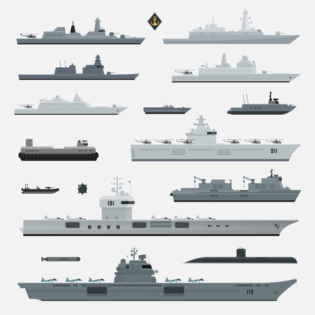 Military weapons of navy battleship. Vector illustration. Ilustração