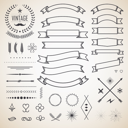 Retro vintage label and ribbon. Design elements. Vector illustration.