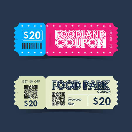 park: Food park and foodland coupon ticket card. Retro element template for design. Vector illustration.