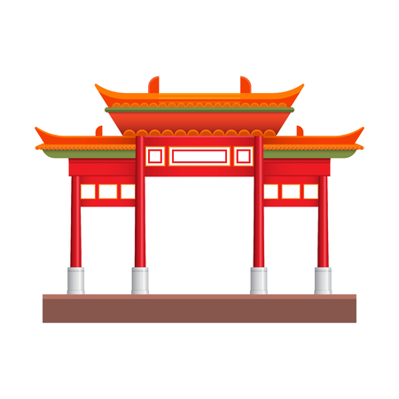 Chinatown building graphic design. Vector illustration.