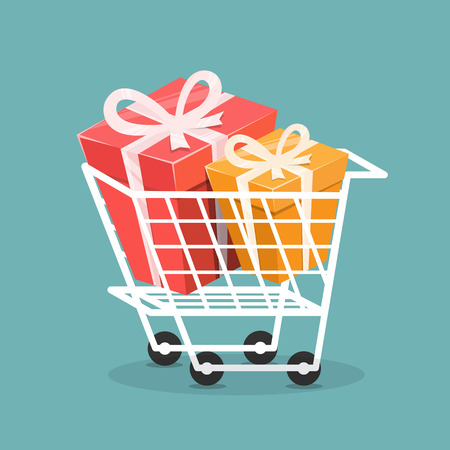Trolley with gift box, Concept of shopping. Vector illustration.