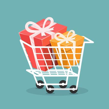 Trolley avec boîte-cadeau, Concept de shopping. Illustration vectorielle