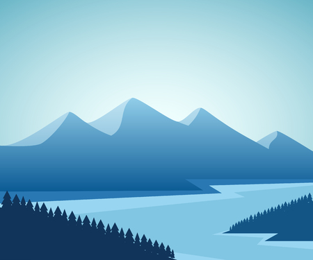 park: Mountain and lake landscape. Graphic design. Vector illustration.