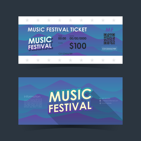 Music festival ticket Card. Mountain element template for graphics design. Vector illustration. Çizim