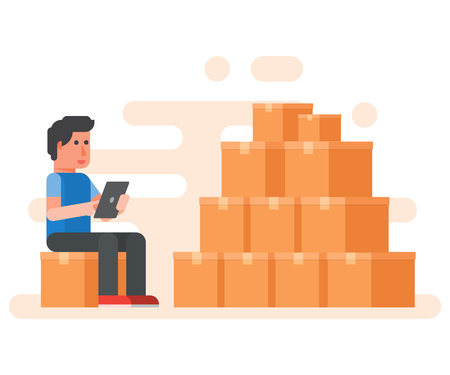 Worker warehouse checking boxes with tablet. product on stock. Vector illustration