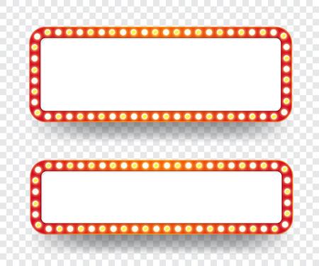 Tableau d'affichage des ampoules électriques. Cadres de lumière rétro vides pour le texte. Illustration vectorielle