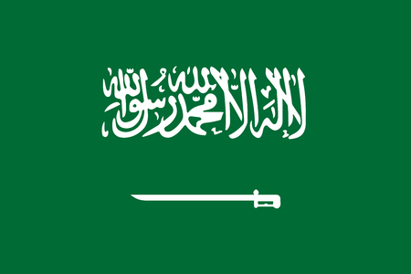 Saudi Arabia flag standard size in Asia vector illustration.