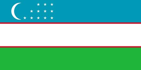 Uzbekistan flag standard size in Asia vector illustration. Stock Illustratie