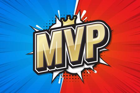 Jugador más valioso, bocadillo de diálogo cómico de póster de MVP. Ilustración vectorial Logos