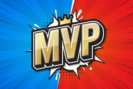 Most Valuable Player, MVP poster comic speech bubble. Vector illustration 矢量图像